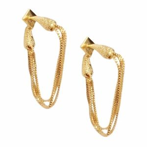 ALEXIS BITTAR • Gold Snake Chain Hoop Earrings